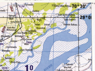 Reduced fragment of topographic map en--jog--250k--nh42-15--(1982)--N029-00_E069-00--N028-00_E070-30; towns and cities Mirpur, Rajhan, Asreli Chauki