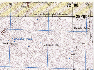 Reduced fragment of topographic map en--jog--250k--nh42-16--(1982)--N029-00_E070-30--N028-00_E072-00; towns and cities Nawa Kot, Bijnot, Chaudhari