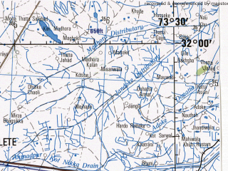 Reduced fragment of topographic map en--jog--250k--nh43-01--(1982)--N032-00_E072-00--N031-00_E073-30 in area of Jhelum; towns and cities Hazari, Laian, Painsera Bahbalpur