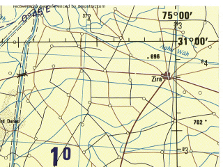 Reduced fragment of topographic map en--jog--250k--nh43-06--(1985)--N031-00_E073-30--N030-00_E075-00; towns and cities Hujra, Jalalabad, Kanganpur
