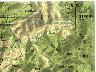 Reduced fragment of topographic map en--jog--250k--nh43-08--(1985)--N031-00_E076-30--N030-00_E078-00; towns and cities Deoban, Silori, Gannja