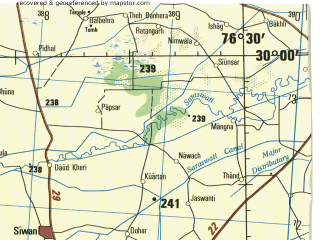 Reduced fragment of topographic map en--jog--250k--nh43-11--(1985)--N030-00_E075-00--N029-00_E076-30; towns and cities Lajwana Kalan, Badopal, Narwana