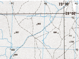 Reduced fragment of topographic map en--jog--250k--nh43-13--(1981)--N029-00_E072-00--N028-00_E073-30; towns and cities Raner, Sanchu, Barsalpur