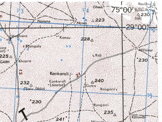 Reduced fragment of topographic map en--jog--250k--nh43-14--(1985)--N029-00_E073-30--N028-00_E075-00; towns and cities Jaitpur, Sahawa, Kalu