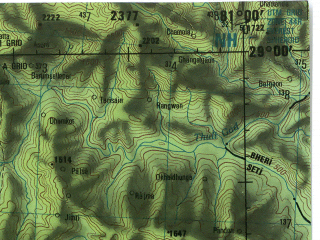 Reduced fragment of topographic map en--jog--250k--nh44-14--(1985)--N029-00_E079-30--N028-00_E081-00; towns and cities Jahanabad, Khutar, Kichna