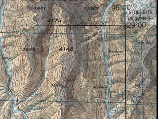 Reduced fragment of topographic map en--jog--250k--nh46-16--(1981)--N029-00_E094-30--N028-00_E096-00; towns and cities Pareng, Analin, Yiku