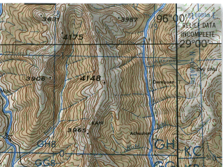 Reduced fragment of topographic map en--jog--250k--nh46-16--(1985)--N029-00_E094-30--N028-00_E096-00; towns and cities Mipi, Nyereng, Pareng