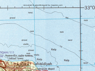 Reduced fragment of topographic map en--jog--250k--ni33-13--(1992)--N033-00_E012-00--N032-00_E013-30; towns and cities Tripoli, Sabratha, Suani Ben Adem, Bu Gheilan
