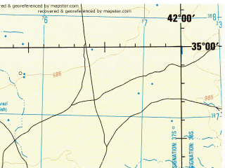 Reduced fragment of topographic map en--jog--250k--ni37-08--(1991)--N035-00_E040-30--N034-00_E042-00 in area of Euphrates; towns and cities Abu Kamal, Khara'ij, Khutaylah