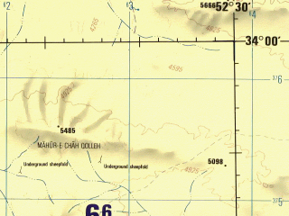 Reduced fragment of topographic map en--jog--250k--ni39-11--(1996)--N034-00_E051-00--N033-00_E052-30; towns and cities Hasnijeh, Margh, Mughar