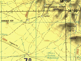 Reduced fragment of topographic map en--jog--250k--ni40-11--(1996)--N034-00_E057-00--N033-00_E058-30; towns and cities Seh Qal`eh, Amanieh