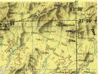 Reduced fragment of topographic map en--jog--250k--ni41-14--(1996)--N033-00_E061-30--N032-00_E063-00; towns and cities Soltan-e Bakva, Anar Darreh, Buri