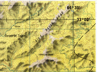 Reduced fragment of topographic map en--jog--250k--ni41-15--(1996)--N033-00_E063-00--N032-00_E064-30; towns and cities Gur Zanak, Char Rah
