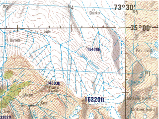Reduced fragment of topographic map en--jog--250k--ni43-05--(1982)--N035-00_E072-00--N034-00_E073-30 in area of Tarbela Reservoir; towns and cities Shang, Topi