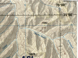 Reduced fragment of topographic map en--jog--250k--ni43-06--(1985)--N035-00_E073-30--N034-00_E075-00 in area of Wular Lake; towns and cities Palhalan, Bakwali, Pampur