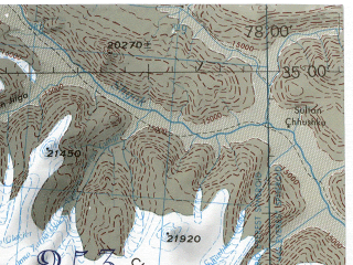 Reduced fragment of topographic map en--jog--250k--ni43-08--(1985)--N035-00_E076-30--N034-00_E078-00; towns and cities Kharu, Sumur, Yagulung