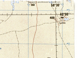 Reduced fragment of topographic map en--jog--250k--nj40-03--(1975)--N040-00_E057-00--N039-00_E058-30; towns and cities Bere, Kazy, Kirpili