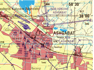 Reduced fragment of topographic map en--jog--250k--nj40-11--(1998)--N038-00_E057-00--N037-00_E058-30; towns and cities Ashkhabad, Galian, 'ali Mohammad, Gerivan
