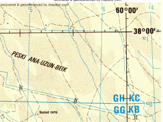 Reduced fragment of topographic map en--jog--250k--nj40-12--(1998)--N038-00_E058-30--N037-00_E060-00; towns and cities Kaakhka, Kachalan, Kazgankala, Khakestar