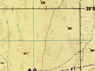 Reduced fragment of topographic map en--jog--250k--nj41-06--(1989)--N039-00_E061-30--N038-00_E063-00; towns and cities Kapakly, Uch-adzhi, Yakeper