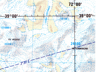 Reduced fragment of topographic map en--jog--250k--nj42-08--(1998)--N039-00_E070-30--N038-00_E072-00; towns and cities Kevron, Pashimgar, Rovand