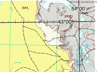 Reduced fragment of topographic map en--jog--250k--nk39-06--(1968)--N043-00_E052-00--N042-00_E054-00; towns and cities Fetisovo