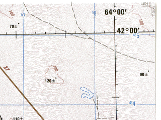 Reduced fragment of topographic map en--jog--250k--nk41-08--(1977)--N042-00_E062-00--N041-00_E064-00; towns and cities Buzaubay, Uzunkuduk