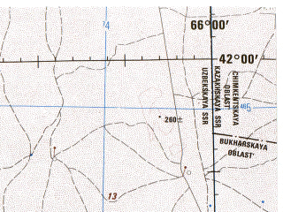 Reduced fragment of topographic map en--jog--250k--nk41-09--(1975)--N042-00_E064-00--N041-00_E066-00; towns and cities Zarafshan, Ayakkuduk, Beshbulak, Mullalykuduk