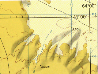 Reduced fragment of topographic map en--jog--250k--nk41-11--(1975)--N041-00_E062-00--N040-00_E064-00; towns and cities Gerelde, Gugurtli, Kalata