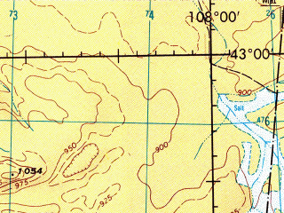 Reduced fragment of topographic map en--jog--250k--nk48-06--(1974)--N043-00_E106-00--N042-00_E108-00; towns and cities Bayan-ovoo