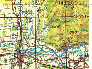 Reduced fragment of topographic map en--jog--250k--nk54-06--(1968)--N043-00_E141-20--N041-55_E143-20; towns and cities Onitoppu, Kami-ibise, Kohan