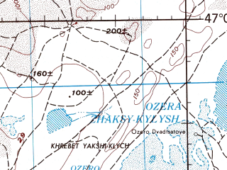 Reduced fragment of topographic map en--jog--250k--nl41-04--(1977)--N047-00_E060-00--N046-00_E062-00 in area of K-l Kamystybas; towns and cities Aral'sk, Koktem, Akbasty, Kontu