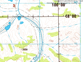 Reduced fragment of topographic map en--jog--250k--nl47-02--(1983)--N048-00_E098-00--N047-00_E100-00; towns and cities Gurvanbulag, Jargalant