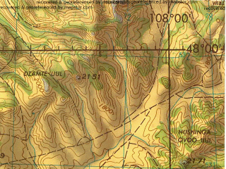 Reduced fragment of topographic map en--jog--250k--nl48-03--(1974)--N048-00_E106-00--N047-00_E108-00; towns and cities Ulaanbaatar, Dzuunmod, Abdar Bayan Suma, Songino