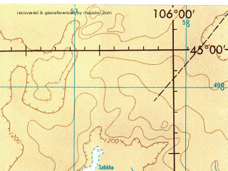 Reduced fragment of topographic map en--jog--250k--nl48-11--(1974)--N045-00_E104-00--N044-00_E106-00; towns and cities Oldoho Hiid, Shara Hulasa Hiid