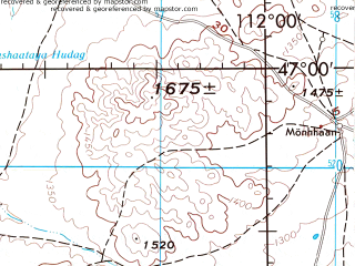 Reduced fragment of topographic map en--jog--250k--nl49-05--(1975)--N047-00_E110-00--N046-00_E112-00; towns and cities Galshir