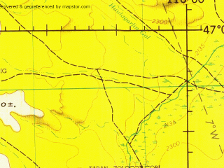 Reduced fragment of topographic map en--jog--250k--nl50-04--(1970)--N047-00_E114-00--N046-00_E116-00; towns and cities Teregen Bayan Sume