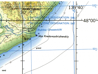 Reduced fragment of topographic map en--jog--250k--nl54-01--(1975)--N048-00_E138-10--N046-25_E139-40; towns and cities Agzu, Akhobe, Grossevichi