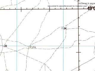 Reduced fragment of topographic map en--jog--250k--nm38-11--(1983)--N049-00_E044-00--N048-00_E046-00 in area of Achtuba; towns and cities Volgograd, Volzhskiy, Krasnoslobodsk, Leninsk, Kapustin Yar