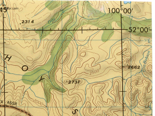 Reduced fragment of topographic map en--jog--250k--nm47-02--(1975)--N052-00_E098-00--N051-00_E100-00; towns and cities Rinchinlhumbe, Ush-beldir