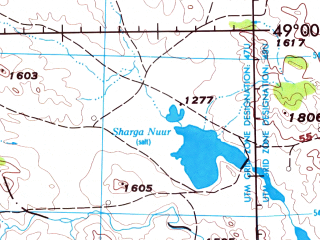 Reduced fragment of topographic map en--jog--250k--nm47-12--(1975)--N049-00_E100-00--N048-00_E102-00; towns and cities Hayrhan, Jargalant, Ondor-ulaan