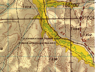 Reduced fragment of topographic map en--jog--250k--nm48-11--(1974)--N049-00_E104-00--N048-00_E106-00; towns and cities Dumda Urtaiin Bayshing, Dzaamar, Jargalant