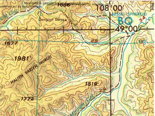 Reduced fragment of topographic map en--jog--250k--nm48-12--(1974)--N049-00_E106-00--N048-00_E108-00; towns and cities Mandal