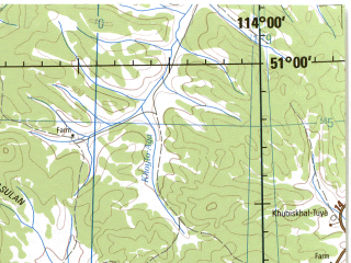 Reduced fragment of topographic map en--jog--250k--nm49-06--(1975)--N051-00_E112-00--N050-00_E114-00; towns and cities Aksha, Ureysk, Ust'-ilya, Chindaley