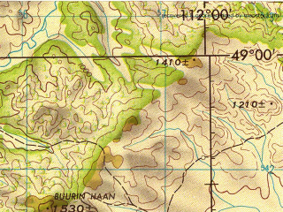 Reduced fragment of topographic map en--jog--250k--nm49-11--(1972)--N049-00_E110-00--N048-00_E112-00; towns and cities Batshireet