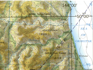 Reduced fragment of topographic map en--jog--250k--nm54-09--(1975)--N050-00_E142-00--N049-00_E144-00 in area of Ozero Nevskoe; towns and cities Poronaysk, Uglegorsk, Gastello, Leonidovo, Boshnyakovo
