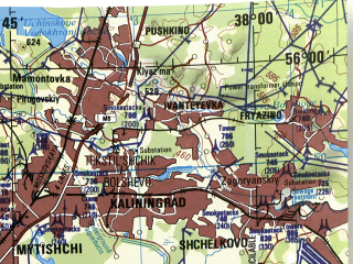 Reduced fragment of topographic map en--jog--250k--nn37-01--(1975)--N056-00_E036-00--N055-00_E038-00; towns and cities Moscow, Podol'sk, Zelenograd, Mytishchi, Odintsovo