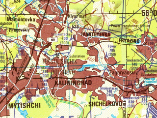 Reduced fragment of topographic map en--jog--250k--nn37-01--(1997)--N056-00_E036-00--N055-00_E038-00; towns and cities Moscow, Podol'sk, Zelenograd, Mytishchi, Odintsovo