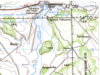 Reduced fragment of topographic map en--jog--250k--nn37-09--(1975)--N054-00_E040-00--N053-00_E042-00; towns and cities Morshansk, Ryazhsk, Pervomayskiy, Ukholovo, Sapozhok