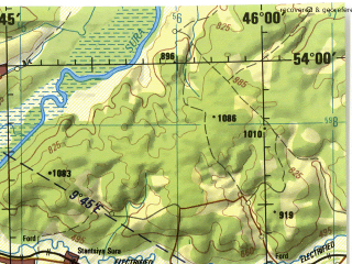 Reduced fragment of topographic map en--jog--250k--nn38-08--(1975)--N054-00_E044-00--N053-00_E046-00; towns and cities Penza, Kamenka, Sursk, Insar, Lunino